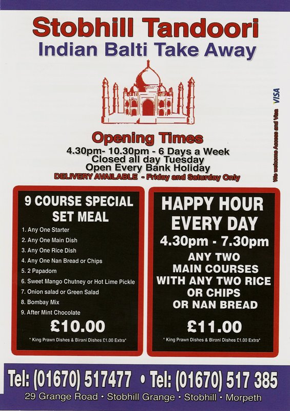 Stobhill Tandoori in Morpeth, Indian Balti Takeaway - Take away Menu